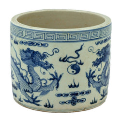 Blue and White Porcelain Dragon Motif Flower Pot 7""