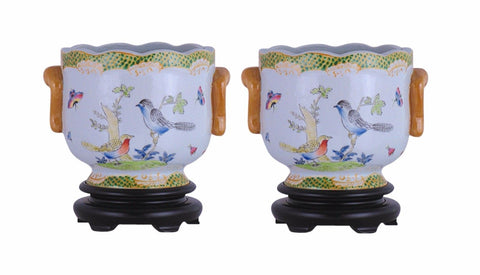 Pair of Round Scallop Rim Porcelain Bird Motif Pot with Wooden Base 7""