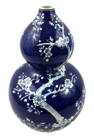 Vintage Style Blue and White Cherry Blossom Gourd Vase 14""