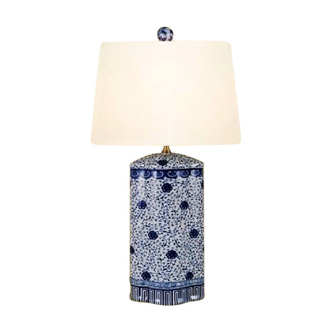 Chinese Blue and White Porcelain Oval Vase Floral Vine Table Lamp 27""