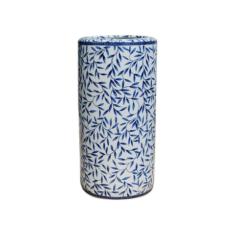 Beautiful Oriental Blue and White Porcelain Umbrella Stand Bamboo Motif 18""