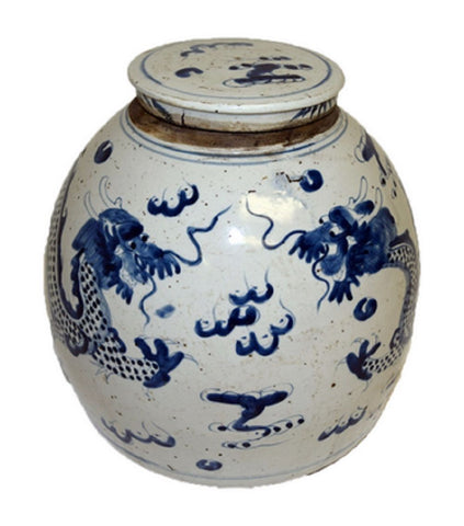 Vintage Style Blue and White Porcelain Lidded Ginger Jar Dragon Motif 11""