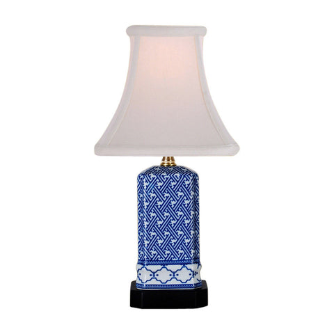 Blue and White Geometric Square Porcelain Vase Table Lamp 15.5""