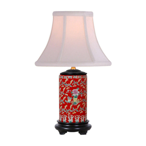 Red Floral Motif Cylindrical Porcelain Vase Table Lamp 15""