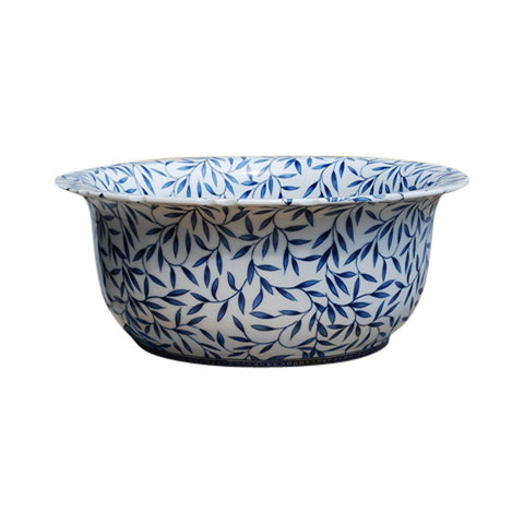 "Blue and White Porcelain Bamboo Leaf Motif Bowl 16"" Diameter"