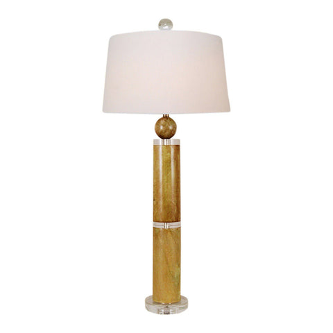 Beautiful Jade Stone w Crystal Round Bamboo Style Table Lamp Crystal Base 38""