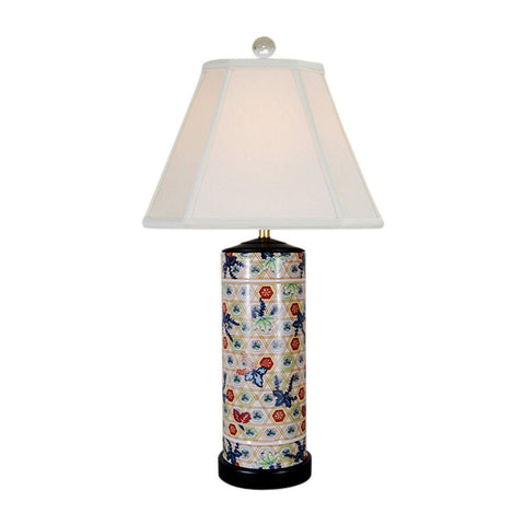 Multicolor Geometric Cylindrical Porcelain Table Lamp 27.5""