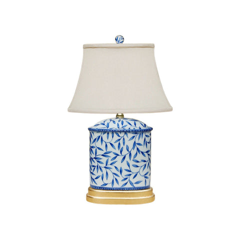Blue and White Bamboo Floral Porcelain Oval Vase Table Lamp 19.5""