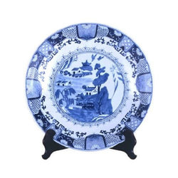 "Beautiful Blue and White Porcelain Chinese Blue Willow Plate 16"" Diameter"