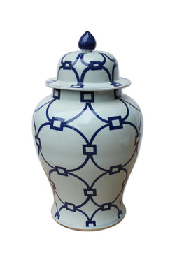 Beautiful Blue and White Love Locks Porcelain Temple Jar 21""