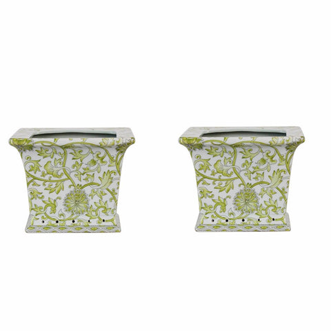 Beautiful Pair Green and White Twisted Lotus Square Porcelain Flower Pot 6""