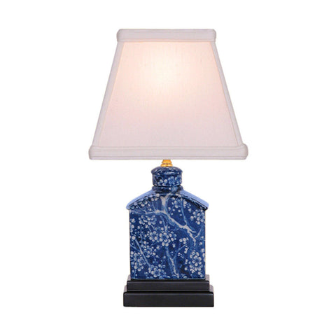Reverse Blue and White Porcelain Cherry Blossom Tea Caddy Table Lamp 13""
