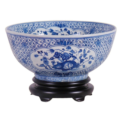 Blue and White Porcelain Floral Chinese Bowl with Stand 12""