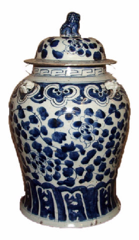 Vintage Style Blue and White Floral Motif Porcelain Temple Jar 19""