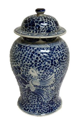 Vintage Style Blue and White Phoenix Motif Porcelain Temple Jar 15""