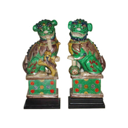 Beautiful Pair of Porcelain Foo Dog on Pedestal Multicolor Green 14""