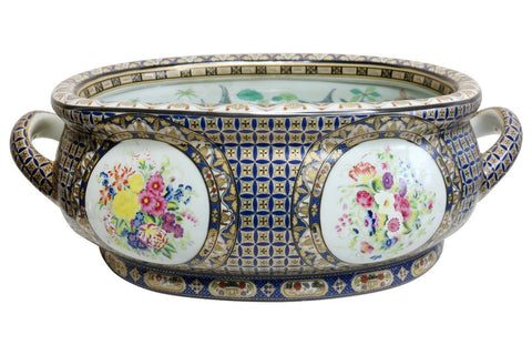 Beautiful Chinoiserie Floral Pattern Porcelain Foot Bath