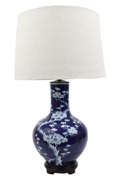 Beautiful Blue and White Cherry Blossom Gourd Porcelain Table Lamp 29""