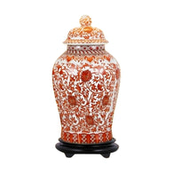 Beautiful Orange/Coral And White Porcelain Chinoiserie Temple Jar 19""