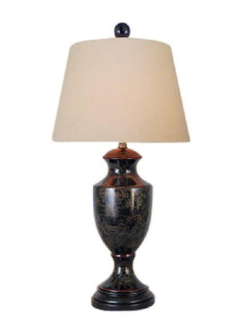 Chinese Black Lacquer Porcelain Box Table Lamp Shade and Finial 25.5""