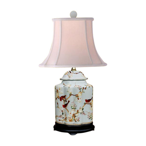 Oriental Chinese Porcelain Floral Bird Scallop Ginger Jar Table Lamp 22""