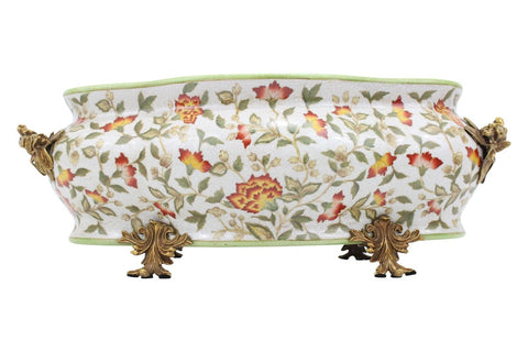 Large Floral Patterend Porcelain Foot Bath Basin Brass Ormolu Accents