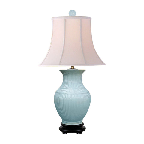 Beautiful Jade Color Porcelain Vase Table Lamp 28""