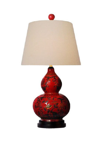Chinese Red Lacquer Porcelain Gourd Vase Table Lamp Shade and Finial 24""