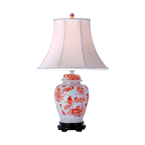 Orange and White Floral Pattern Porcelain Temple Jar Table Lamp 26""