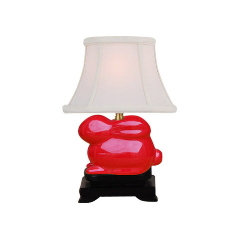 Cute Red Porcelain Rabbit Table Lamp 14""