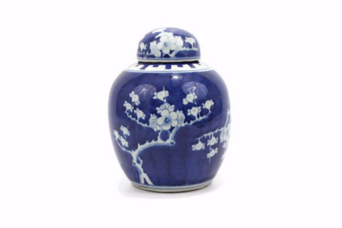 "Beautiful Cute Blue and White Porcelain Ginger Jar Plum Tree Motif 8"" ver2"