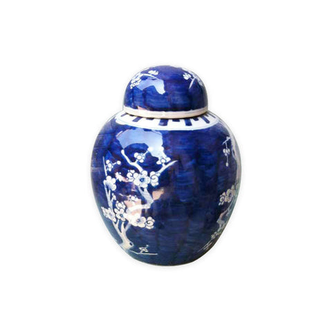 Beautiful Cute Blue and White Porcelain Ginger Jar Plum Tree Motif 8.5""