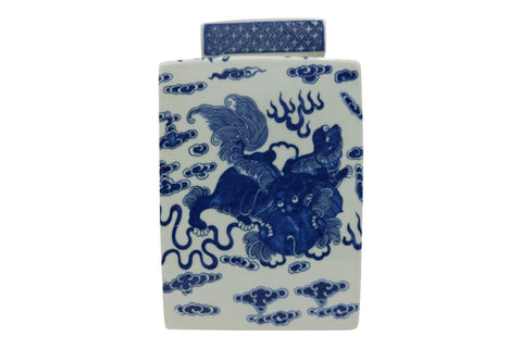 Blue and White Square Chinese Porcelain Ginger Jar Foo Dog Motif 11""