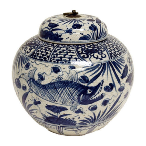 Vintage Style Blue and White Porcelain Lidded Ginger Jar Fish Motif 10""