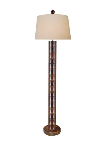 Beautiful Brown Jade Cylindrical Bamboo Style Floor Lamp 60""