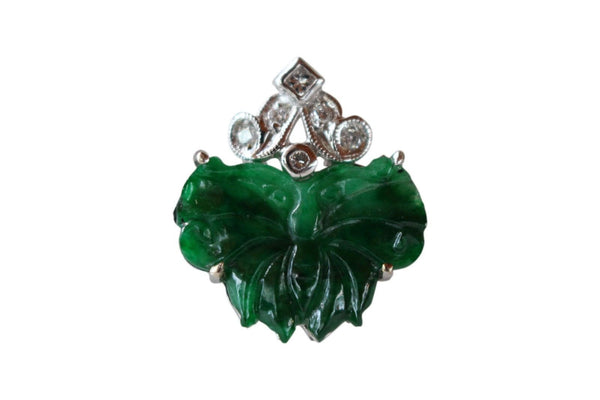 Butterfly Imperial Jadeite Pendant 0.06 carat Diamonds 18K Gold