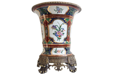 Beautiful Navy White and Red Porcelain Floral Pattern Vase with Ormolu Brass 11""