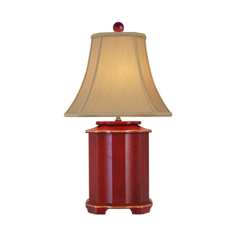Chinese Red Lacquer Porcelain Pagoda Style Table Lamp 25""