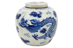 Vintage Style Blue and White Porcelain Lidded Ginger Jar Dragon Motif 12""