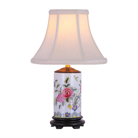 Floral Rose Motif Cylindrical Porcelain Vase Table Lamp 15""