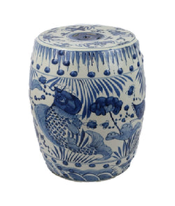 Blue and White Porcelain Fish Motif Garden Stool 19""