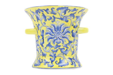 Beautiful Yellow and Blue Floral Pattern Ring Cup Porcelain Vase 7""