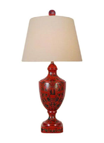 Chinese Red Lacquer Porcelain Jar Table Lamp with Shade and Finial 28""