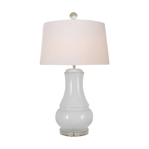Beautiful White Porcelain Vase Clear Base Table Lamp 30""