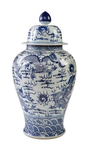 Decorative Blue and White Porcelain Lidded Temple Jar Dragon Motif 29""