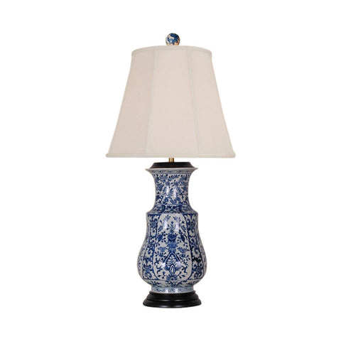 Blue and White Chinoiserie Floral Porcelain Vase Table Lamp 34""