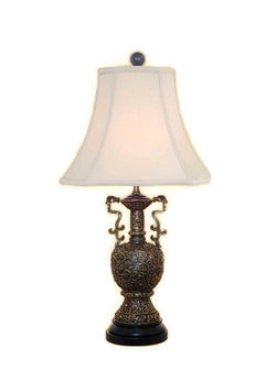 Oriental Brass Bronze Dragon Vase Table Lamp Shade Finial 24.5""