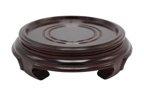 "Chinese Round Wooden Stand Base Dark Brown Reddish 2"" to 6"""
