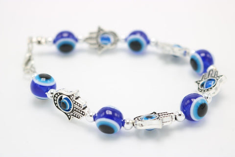Beautiful Blue Eyed Beaded Bracelet Evil Eye Hand Fatima Silver Color