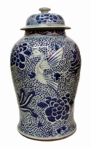 Vintage Style Blue and White Phoenix Motif Porcelain Temple Jar 19""